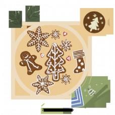圣诞姜饼暖色的食品材料和插图