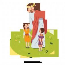 可爱的手绘插图的耶稣和两个孩子