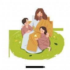 可爱的耶稣和儿童手绘插图