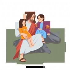 仁慈的耶稣和两个孩子解释手绘插图