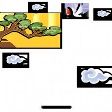 韩国的传统节日在新年松树和起重机
