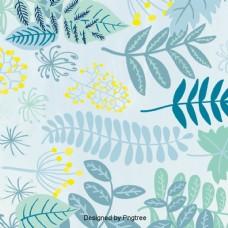 设计背景的叶花和草墙纸风格