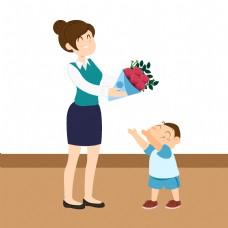 把鲜花给老师那个穿蓝衣服的男孩