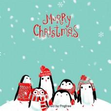 和企鹅蓝色圣诞背景