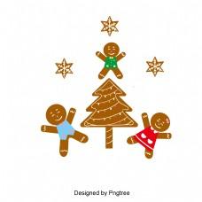 圣诞姜饼和棕色平圣诞树
