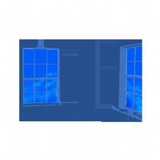 插画窗户天空png免抠