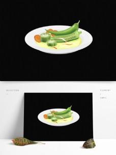 手绘素食美食菜肴系列之清炒秋葵