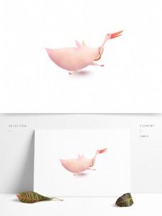 手绘卡通鹅图案元素