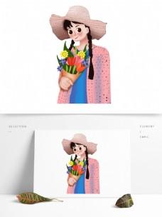 三八女王节拿着捧花的文艺女孩人物插画