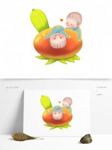 小和尚世界无肉日苦瓜卡通可爱吃素食物番茄