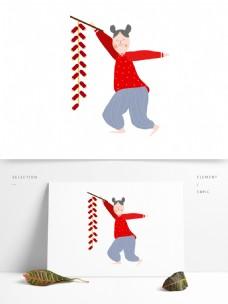 手拿鞭炮的红衣女孩图案元素