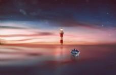 漂流在唯美海中的船