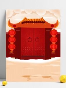 喜庆手绘新年门前插画背景