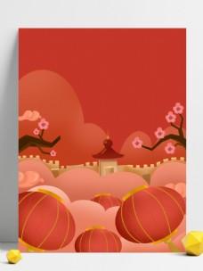 中国风灯笼猪年展板背景