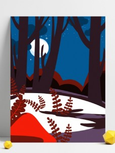 彩绘树林星空晚安背景设计