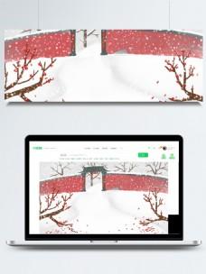 喜庆新年房屋雪景背景