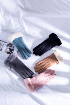 韩版多色女士麂皮绒手套5