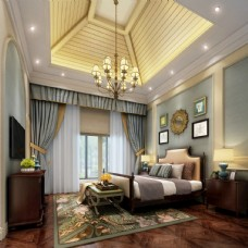 美式轻奢卧室效果图3D模型