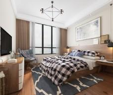 现代简约小清新卧室效果图3D