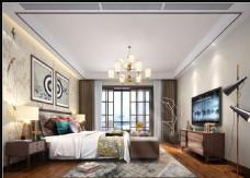 现代简约轻中式卧室效果图3D