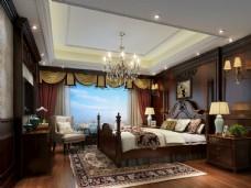 美式卧室效果图3D模型