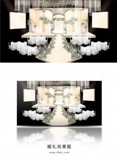 简约香槟色婚礼主舞台效果图