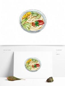 手绘素食青菜西红柿面条