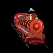 红色火车写实风格