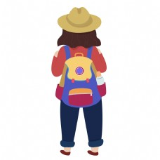 彩色创意背书包的女孩元素