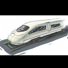 火车动车组卡通手绘