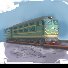 火车绿皮火车卡通手绘插画