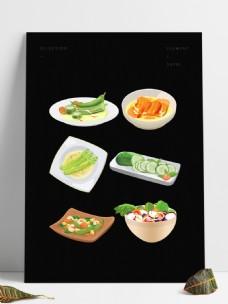 手绘素食美食菜肴系列合集套图