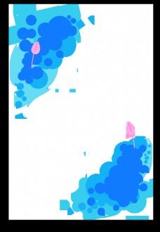 蓝色系清新荷花圆形边框