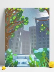 卡通绿色城市风景插画背景
