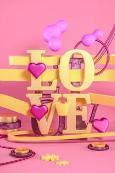 C4D立体LOVE情人节甜蜜电商促销背景