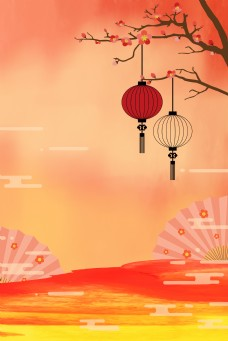 中国风纸扇红色psd分层banner
