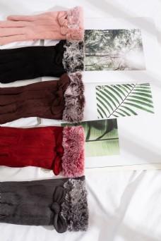 多色日系麂皮绒女士手套