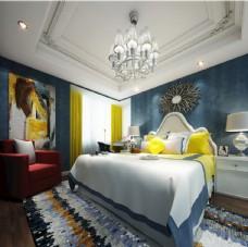 现代美式卧室效果图3D模型
