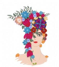 手绘花朵女人头像