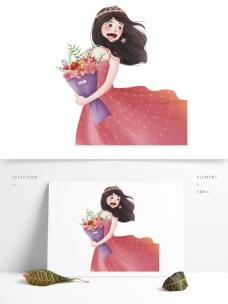 彩绘唯美拿着一束花的少女