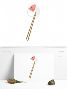 清新西瓜盘子筷子元素