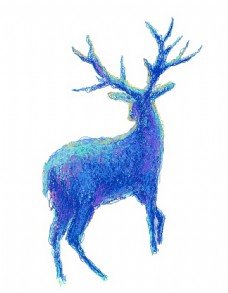 手绘卡通紫色线条麋鹿免扣元素