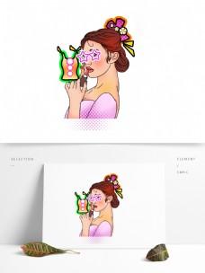 彩绘涂口红的性感女性