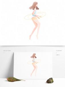 清新手绘穿着泳衣的性感女孩