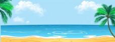 夏日海边蓝色天空棕榈树沙滩背景海面