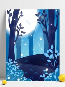 彩绘树林圆月晚安背景设计