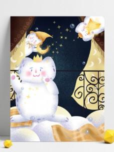 彩绘星空雪人背景设计