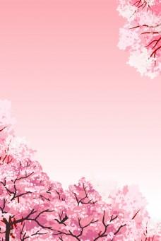 粉色清新浪漫出游记桃花背景