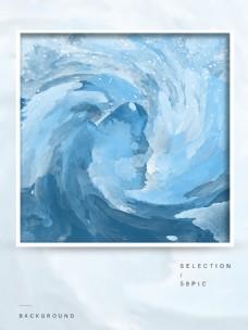 原创蓝色海洋波浪水彩背景