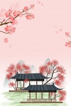 粉色唯美古风出游季桃花背景